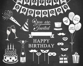 """Birthday clipart: """"HAPPY BIRTHDAY CLIPART"""" with chalkboard birthday clip art, party invite, party clipart, 24 images, 300 dpi. png files"""