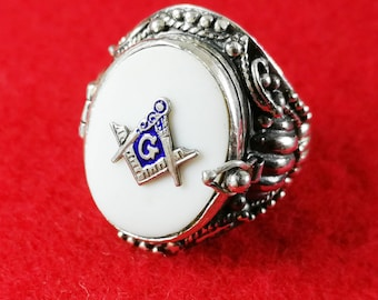Masonic Locket Ring  Sterling