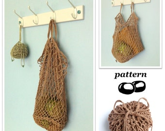 Crochet Bag Pattern / Foldable Packaway Mesh Bag String Bag Pattern / Crochet Tote Pattern / Mesh Bag / Folding Bag