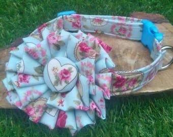 Valentine Dog Collar - Floral Dog Collar - Dog Flower - Blue Dog Collar - Heart Dog Collar - Summer Dog Collar - Dog Bow  - Girl Dog Collar