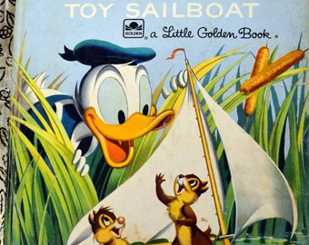 Vintage Children's Book Donald Duck's Toy Sailboat Chip and Dale Little Golden Book Five Books for Ten Dollars