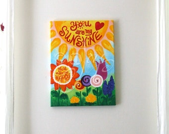 You Are My Sunshine #10 art for girls room, 12x16 acrylic painting for chilrens room or baby girls nursery