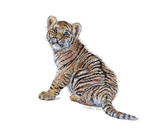 Original Tiger Cub Painting, Watercolours