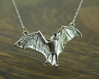 925 sterling silver bat necklace  batman inspired jewelry Vampire bat jewelry C176N_S