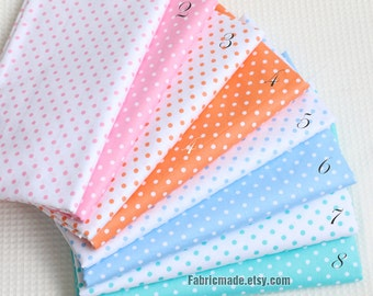 Pastel Pink Blue Green Dots Cotton, Light Pink Green Blue Fabric with Little Dots, Polka Dots Cotton, Fabric with Dots - 1/2 yard