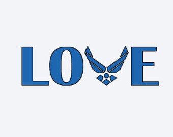 Air Force Decal - Air Force Car Decal - Military Decal - Military Car Decal - LOVE Decal
