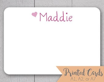 Name Note Cards without Envelopes - 24pk, Personalized Flat Note Cards without Envelopes (NC-009)