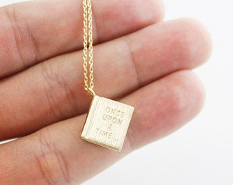 Gold / Silver Book Pendant with once upon a time initial Necklace. Simple and Modern Necklace.Birthday Gift