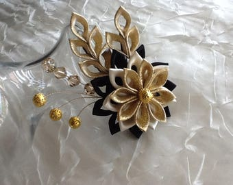 Hair Clip - Gold Ivory Black Kanzashi Flower with Gold Beads and Crystal Bicones  - Wedding Flowers Bridal Headpieces