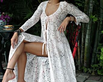 Lace Tie Front Nightgown W Panties Bridal Lingerie Wedding Sleepwear Honeymoon  Beach Cottage Chic lace Bridal Lingerie