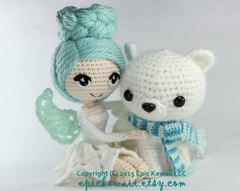 PATTERN 2-PACK: Luciella the Winter Fairy and Peppermint the Polar Bear Cub Crochet Amigurumi Dolls
