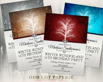 Winter Wonderland Birthday Party Invitation, Printable Invitation , Printable Digital file, Trees and Snowflakes, Various Colors, DIY Invite