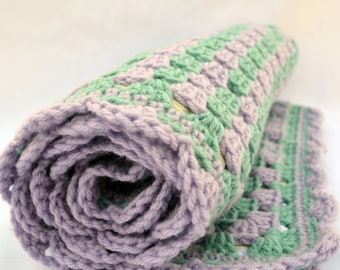 lilac and sage crochet baby blanket, granny square reversible crochet baby blanket