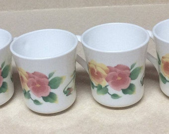 Vintage Corning Summer Blush Pattern Purple Pink Peach Pansy Green leaves Set Of 4 Mugs Cups