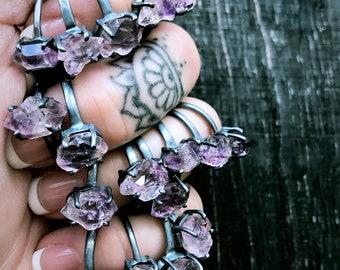 Raw Mexican Veracruz amethyst crystal ring
