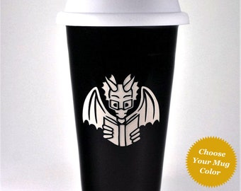 Book Dragon Travel Mug - insulated lidded coffee cup