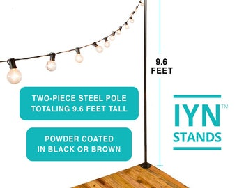 IYN Pole Stands (BROWN) - Hang string lights, shading or privacy screening