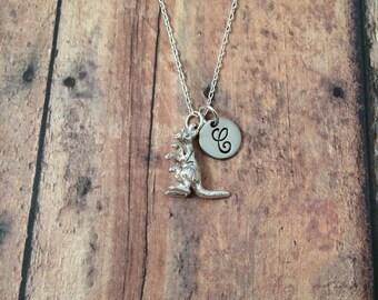 Kangaroo initial necklace - kangaroo jewelry, Australia necklace, zoo animal jewelry, marsupial necklace, silver kangaroo necklace
