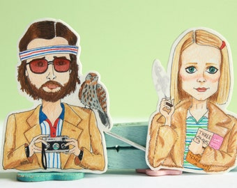 Margot and Richie Tenenbaum Brooches // Character Pins // The Royal Tenenbaums // Wes Anderson Movie