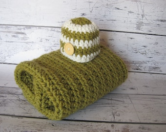 Crochet Baby  Blanket Afghan Olive Moss Green  Chunky Stroller Blanket Baby Boy