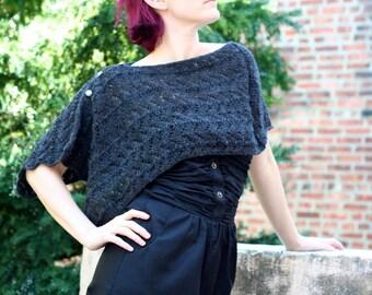 Ready to Ship: The Onyx Shawl - Hand Knit Shawl - Lace Shawl - Alpaca Shawl - Women Fichu - Wedding Shawl - Sheer Shawl - Amy LaRoux