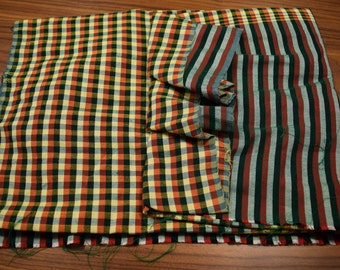 Green & Red Block Print Scarf Woven in Thailand