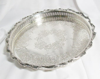 15 Inch Webster Wilcox International Silver - Silverplate Gallery Tray - Joanne Pattern