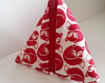 fox fabric pyramid coin purse, red foxy fox