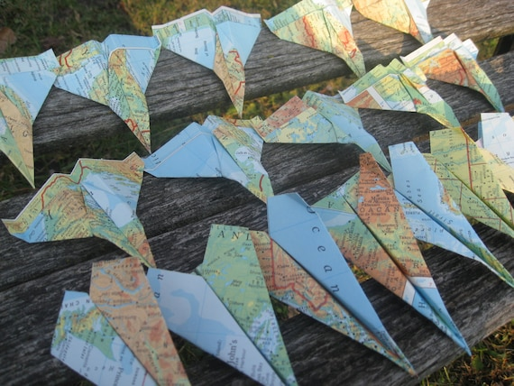 Vintage MAP Paper Airplanes. Escort Cards, Wedding Decoration, Party, Birthday, Travel Wedding. CUSTOM ORDERS Welcome.
