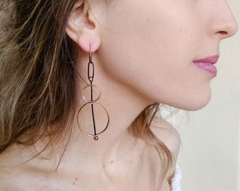 Long hoop earrings, double circle loop single earring, statement leather and metal jewelry, simple modern design fashion gifts for women