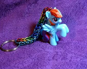 Custom Rainbow Dash My Little Pony Friendship is Magic Chainmaille Keychain