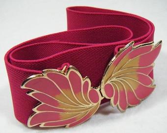 Vintage 80's Pink Elastic Belt Clasp Buckle