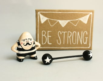 Moustache man miniature figurine - Circus strongman - Pocket box - Be strong- Made to order