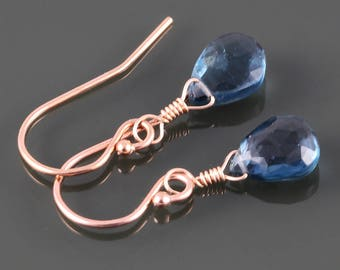 London Blue Topaz Earrings. Rose Gold Filled Ear Wires. Genuine Gemstone. December Birthstone. Lightweight Earrings. s17e086