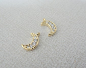 Moon Pendant, Small gold Crystal Crescent Moon Pendant, Tiny Moon Charm,  Jewelry Findings, 2 pc, PR60587
