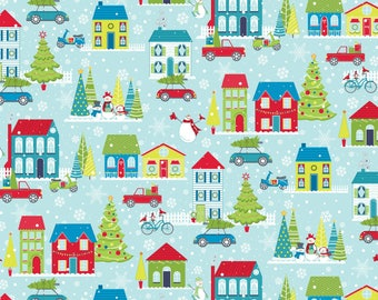 Light Turquoise Mulberry Lane Village rom the Mulberry Lane Collection by Cherry Guidry for Contempo Studios, Christmas Fabric, Winter