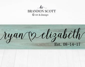 Bridal shower gift, Gift for Boyfriend Girlfriend, Wedding gift for couple, Couple's Names, Anniversary gift for Wife Husband