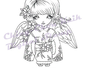 Poinsettia Angel Dollie - Instant Download / Christmas Candle Japanese Kimono Flower  Angel Fantasy Fairy Girl Art by Ching-Chou Kuik