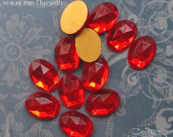 Vintage Cabochons - 10x14 mm Facet Hyacinth -  6 West German Faceted Glass Stones