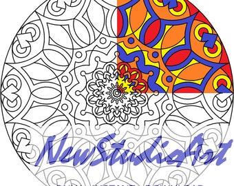 Printable Mandala Coloring Page-Art Therapy-Adult Coloring Page-Antistress-Coloring for Relaxation-Instant Digital Download - MANDALA 005