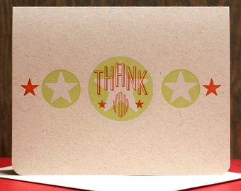 Thank You letterpress card set of 6