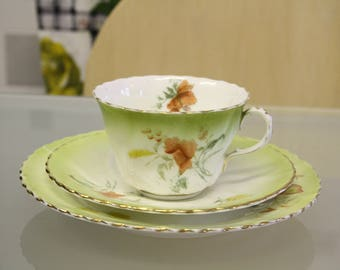 Green floral detailed vintage tea cup and saucer with side plate, perfect for afternoon tea