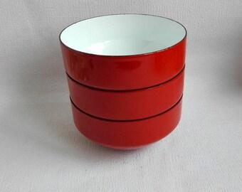 """Vintage COPCO Enamel Bowls, Set of 3 Bowls,6""""x 3"""". Michael Lax Design, Switzerland, Orange Serving Bowls, 1970's"""