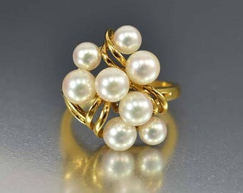 Vintage Mikimoto Pearl Ring, 18K Yellow Gold Akoya Pearls Cluster Ring, Cultured Pearl June Birthstone Cocktail Statement Ring, Fine Jewelry