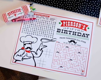 Pizzeria Pizza Party Coloring Activity Page - Printable Customized Sheet