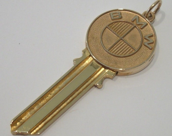 "14K Gold & Brass, ""BMW"" Blank Car Key Pendent... By: Richard Avedon"