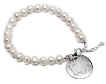 Monogrammed Pearl Bracelet, Fresh Water Pearl Bracelet