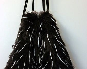 Black and white faux fur backpack (order # BWL