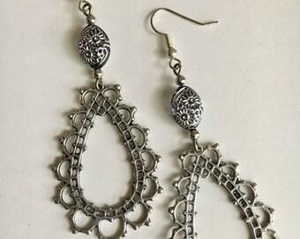 Silver Floral Filigree Open Teardrop Hoop Earrings