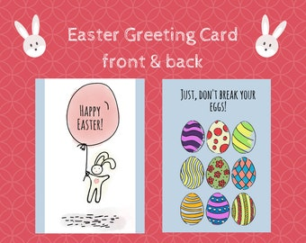 Easter greeting cards printable - 2 sides greeting card for Easter, PNg file easter cards, Easter gift cards, Bunny gift card for Easter